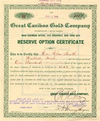 Great Cariboo Gold Company - South Dakota 1906