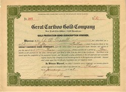 Great Cariboo Gold Company - South Dakota 1908