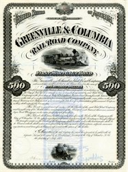Greenville and Columbia Railroad Company - South Carolina 1875