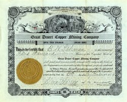 Great Desert Copper Mining Company - Salt Lake City, Utah - 1914