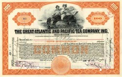 Great Atlantic and Pacific Tea Company, Inc. 1920's signed by George L. Hartford