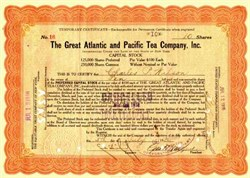 Great Atlantic and Pacific Tea Company - First American Chain Store -  handsigned by founder George Huntington Hartford - 1916
