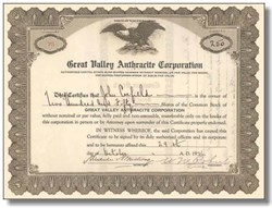 Great Valley Anthracite Corporation 1920's