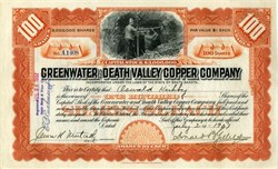 Greenwater and Death Valley Copper Company ABN (Issued to and signed by Oswald Kirkby)  - 1907