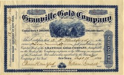 Granville Gold Company - Incorporated in New York - Stanly and McDowell Counties, North Carolina - 1880