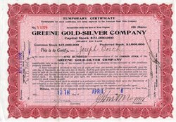 Greene Gold Silver Company  - Mines in Temosachic, Chihuahua Mexico - Incorporated  West Virginia 1906