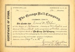 Grange Hall Company - Lebanon, Connecticut - 1922