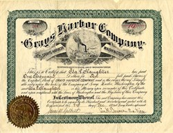 Grays Harbor Company signed by George Emerson  - Washington Territory - 1890