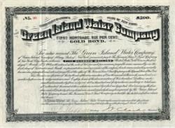 Green Island Water Company - Gold Bond - New York 1888
