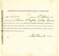 Greenock Marine Insurance Company - England 1841