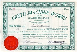 Greth Machine Works - Pennsylvania 1903
