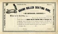 Grand Roller Skating Rink (Old 1880 Roller Skate Vignette) - Kentucky 1880's