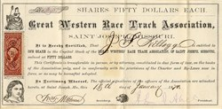 Great Western Race Track Association - Missouri 1870