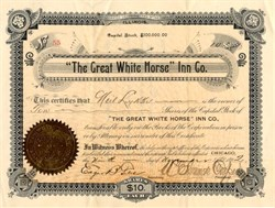 Great White Horse Inn (Name mentioned in Charles Dickens Pickwick Papers ) - Illinois 1892