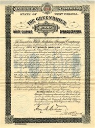 Greenbrier Resort Hotel White Sulphur Springs Company (famous nuclear holocaust bunker)  signed by Governor Henry Mason Mathews  - West Virginia 1882