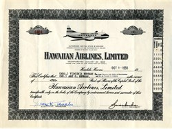 Hawaiian Airlines, Limited - Honolulu, Territory of Hawaii - 1956