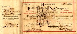 EARLY Hawaiian Bell Telephone Company - Honolulu, Kingdom of Hawaii 1881