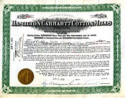 Hamilton Carhartt Cotton Mills Signed by Founder, Hamilton Carhartt  - Detroit, Michigan 1920