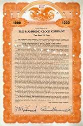Hammond Clock Company Bond handsigned by Laurens Hammond ( Hammond Organ Inventor)  - Delaware 1936