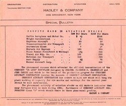 Hadley & Company ( Profits made in Aviation Stocks)  - New York 1929