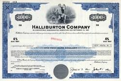 Halliburton Company - $1000 Specimen Convertible Bond - 1977