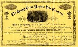 Happy Creek Virginia Iron Company - Front Royal, Virginia 1882