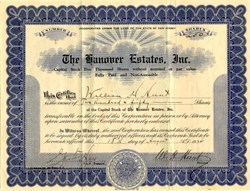 Hanover Estates, Inc. - New Jersey 1924