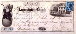 Hagerstown Bank Check 1871-1882