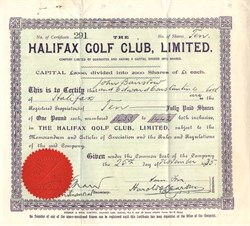 Halifax Golf Club, Limited. - England 1935