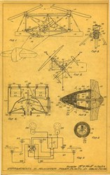 Early Helicopter Patent Design hand drawn in pencil by Inventor Randolph Fordham Hall - 1923