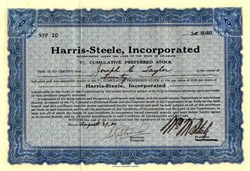 Harris-Steele, Incorporated - Delaware 1930