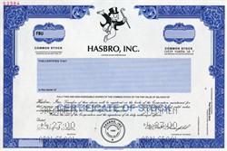 Hasbro, Inc. specimen stock certificate (Monopoly's Rich Uncle Pennybags Vignette) - Rhode Island
