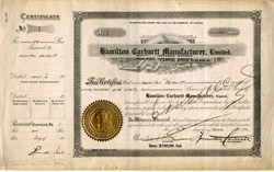 ' Hamilton Carhartt Clothing Company Certificate #1 - Signed by Founder, Hamilton Carhartt  3 times - 1910