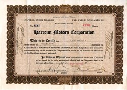 Harroun Motors Corporation Stock Certificate (Harroun was the first driver to win the Indianapolis 500 ) - 1917