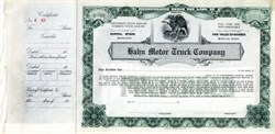 Hahn Motor Truck Company (Fire Truck and Bus Manufacturer) - Pennsylvania 1920