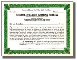 Hannibal Coca-Cola Bottling Company Stock - 1920's Plus Old Coke Check