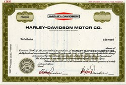 Harley - Davidson Motor Co. (William H. Davidson as President ) RARE Specimen - Famous Motorcycle Company