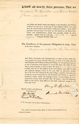 Harvard College Tuition $400 Bond for Benjamin Barnard Appleton - 1831