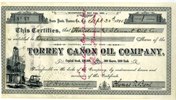 Torrey Canon Oil Company - RARE- (Became Union Oil Company - Now Chevron) signed by Thomas R. Bard, Union Oil Co. co-founder- California 1895