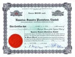 Hawaiian Sumatra Plantations, Limited - Hawaii Territory 1951