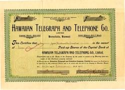 Hawaiian Telegraph and Telephone Company (Now Verizon )- Honolulu, Hawaii 1909