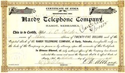 Hardy Telephone Company - Nebraska 1904
