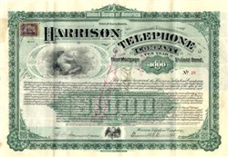 Harrison Telephone Company $1,000 Gold bond - Deadwood, South Dakota 1901