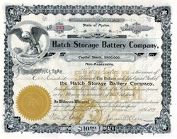 Hatch Storage Battery Company 1899