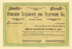 Hawaiian Telegraph and Telephone Company 1907 - Hawaii Territory