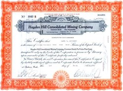 Hayden Hill Consolidated Mining Company 1940's