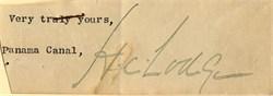 Henry Cabot Lodge Signature - Panama Canal