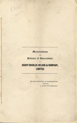 Henry Charles Wilson & Co  (Wilson's Brewery) Memorandum and Articles of Association - Newton Heath, Manchester, England 1894