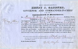 Henry J. Gardner, Governor Appointment of Henry W. Usher to Captain - Massachusetts 1855