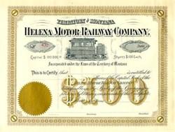 Helena Motor Railway Company - Territory of Montana - 1880's